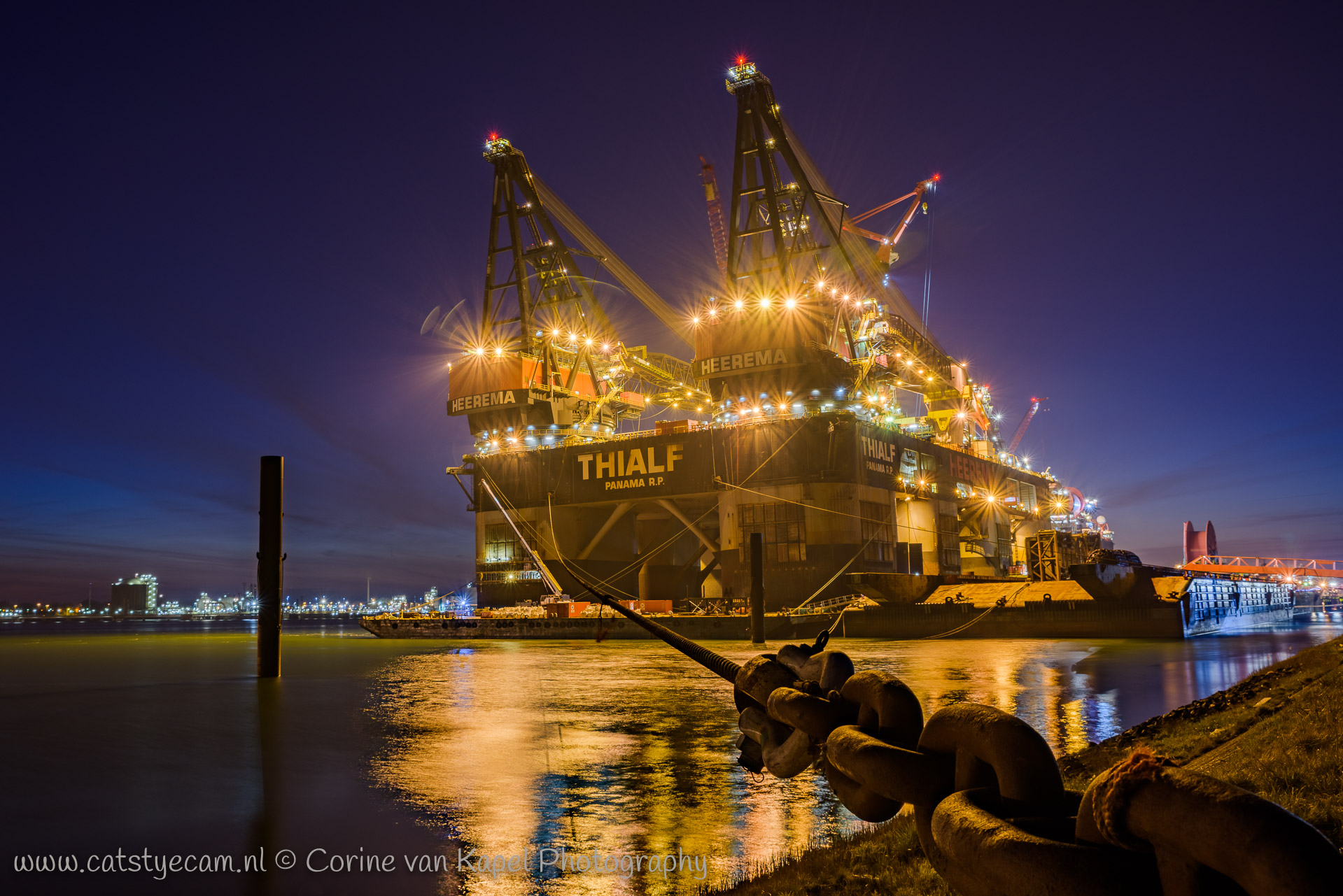 Crane vessel Thialf by night at the Calandkanaal